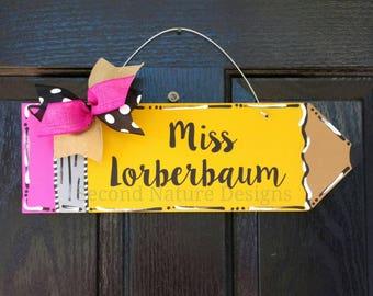 "18"" Pencil Door Hanger / Teacher Gift / Personalized Pencil Sign / Teacher Appreciation Gift / End of Year Teacher Gift"