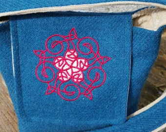 Harris Tweed Small Shoulder Bag with Celtic embroidery design. Handmade on the beautiful Isle of Skye