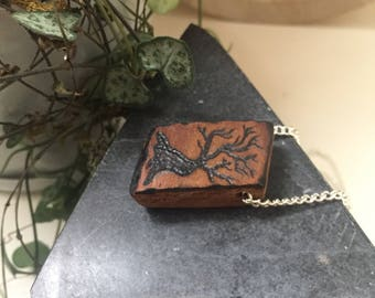 Weathered - Wooden pendant necklace - Wood burned  - Hemp Cord or Nickel Chain Available - Recycled Reclaimed Repurposed Wood