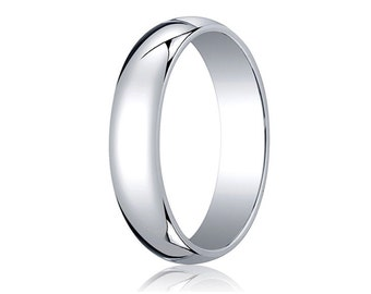 5MM Wide Domed 10K White Gold Band Men's or Women's Basic Wedding Ring with Custom Engraving Half Round Classic Style