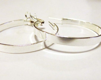 Shiny Silver Hoop Earrings 1.5 inch Hoop Earrings Silver tone Classic Hoop Earrings