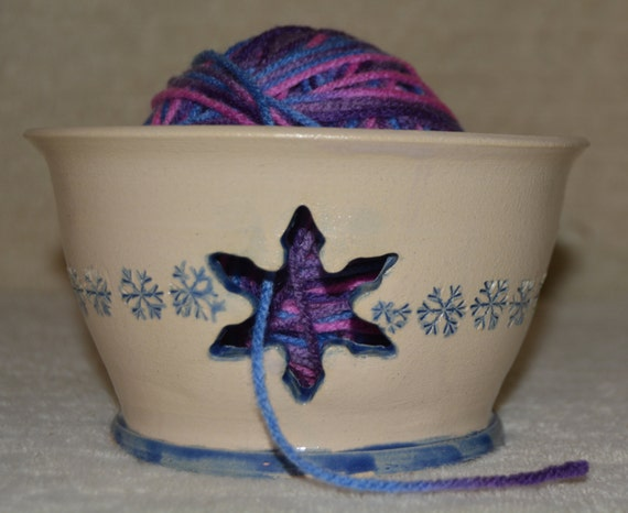 Yarn Bowl, Snowflake, Blue, White, Stoneware, Yarn, Knitting, Crochet,