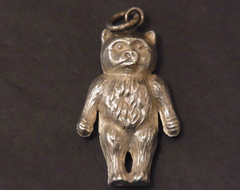 Antique Sterling Silver Charm Pendant Teddy Bear Chester 1907 Estate Jewellery Edwardian  Silver Bear Charm Antique Silver Bear Pendant