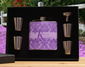 Personalized Flask for Women,Set of 3, Bridesmaid Gift, Purple, Lavender Flask Gift Set