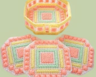 PASTEL RIBBON COASTERS - Four Coasters and Holder