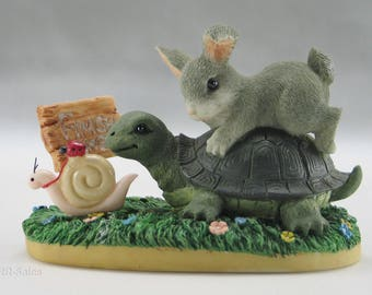 Vintage Charming Tails Turtle, Snail and Rabbit Figurine by Flitz and Floyd
