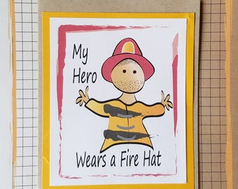 Fireman Birthday Card - Father Birthday Card for Fireman - Firefighter Birthday Card for Him - Fireman Son Birthday Card and Envelope Set