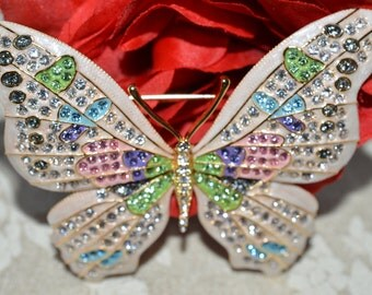 Joan Rivers Rhinestone Large GOLDEN BLUSH Butterfly Brooch with Romace card bag and Box ships in 24 Hrs
