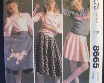 Girls' Poodle Skirt Uncut McCall's Sewing Pattern 8665 Size 10 Waist 24 1/2