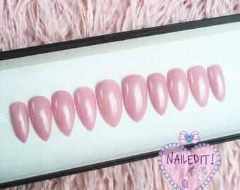 NAILED IT! Hand Painted False Nails - Shimmery Pink