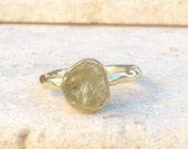 Aquamarine Ring US 5.5 Raw Aquamarine Gold Ring Rough Natural Gemstone Rough Aquamarine Ring Natural Aquamarine Gemstone Gold Ring