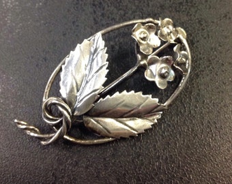 Sterling silver brooch ,leaf and flowers