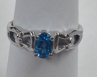 Natural Blue Topaz Ring 925 Sterling Silver