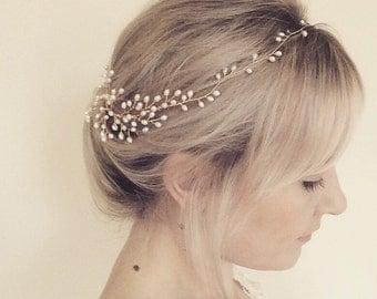 Bridal headpiece, bridal halo, freshwater pearl hair comb, wedding headdress, gold hair vine, hair up