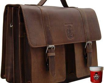 Briefcase DARWIN made of brown leather - BARON of MALTZAHN