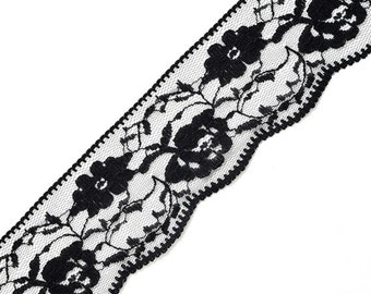 Floral Raschel Lace Trim, 2-1/8 Inch by 2-Yards, STEP-4123