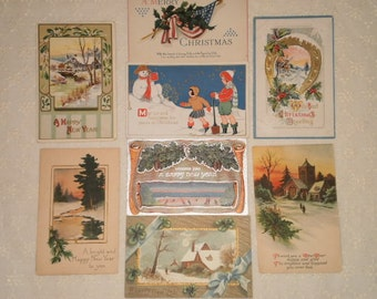 Vintage Christmas New Years Postcards Used Collages Altered Art Display