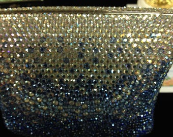 Hand blinged gold leather lined evening bag