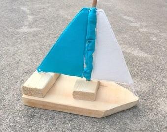 Single Mini Toy/Photography Prop Sailboat- Natural/teal