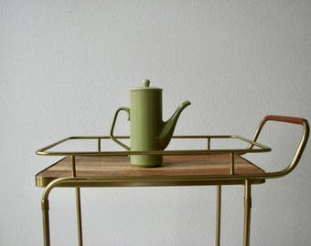 Tall Olive Green Ceramic Tea Pot