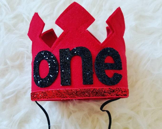 Red First Birthday Felt Crown | Felt Crown | Birthday Boy Crown |Cake Smash | 1st Birthday |Photo Prop