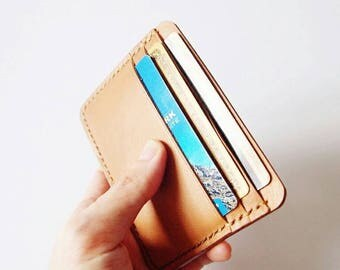 Credit Card Wallet/ Card Organiser in Light Brown Leather - Men's Wallet /Card Holder / Card Wallet / Card Case / Minimalist Wallet