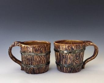 Pair of Rustic Hand Thrown Coffee Mugs