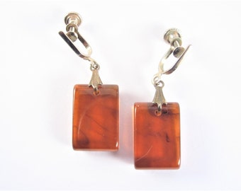 Vintage Amber Color Lucite Dangle Earrings