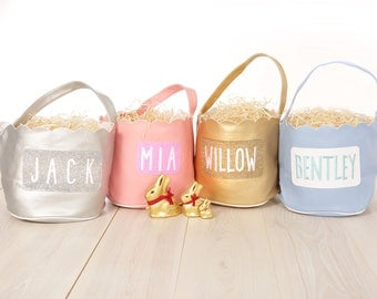 Personalised Easter Egg Basket embroidered glitter felt faux leather