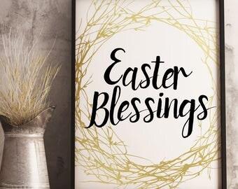 Easter Blessings Easter Table Decorations Easter Decor Easter Printable Instant Download Digital Download Floral Easter Wreath
