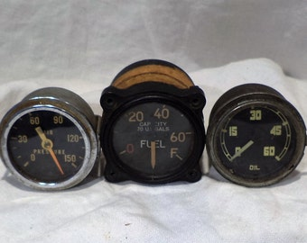 Industrial Airplane Gauges, Collection of 3 Pressure, Oil and Fuel Gauges, Vintage Industrial Factory Salvage