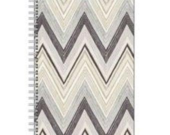 """Shades of Gray Spiral Notebook, Gray, Zig-Zag, Chevron, Journal, Lined Pages, Elegant, Gifts, Organizer 5.5"""" X 8.5"""""""