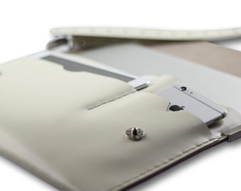 Smooth leather bag / macbook bag with straps \ CREAM