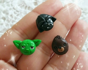 Star wars earrings studs  fimo clay