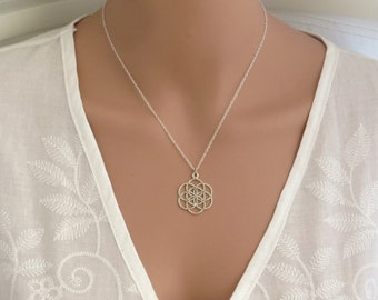 Silver necklace, Seed of life necklace, flower of life necklace, good luck charm necklace, sacred geometry ,silver mandala necklace