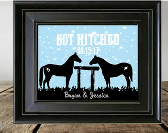 Western Print, Personalized Gift, Wedding Gift, Gift for the Couple, Horse Decor, Rustic Home Decor, Cowgirl Decor, Cowboy Decor, Home Decor