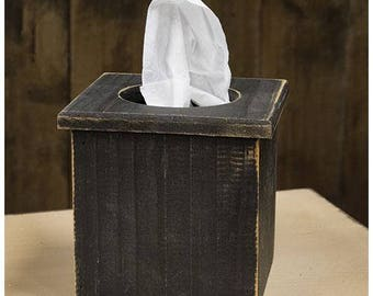 Black wood Tissue Box Cover with Distressed Finish
