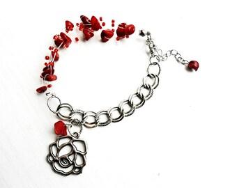 Red Coral Chain Multistrand Bracelet Nugget Raw Gemstone Bohemian Crochet Air Floating Invisible Bracelet Flower Rose Charm Boho Pendant