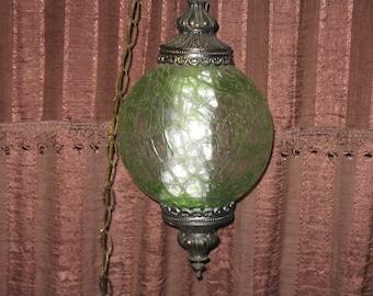 Vintage green glass globe hanging swag lamp