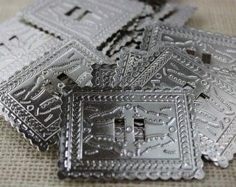Vintage Large Silver Rectangle Conchos (6 pieces)