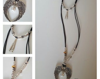 double leather necklace with big silver plated elements