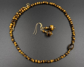 Tiger eye necklace and earrings  set tiger eye vermeil gold handmade, semiprecious stone necklace earring matching tiger eye jewelry
