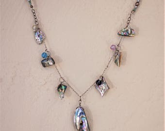 Hand cut Purple Abalone Shell drop necklace Shell jewelry Boho necklace
