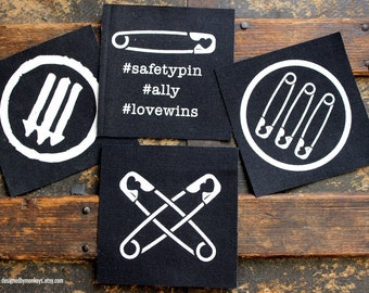 Safety Pin / AntiFA Canvas Patch - Safety Pin Movement Safe Person Ally Anti-Fascism LOW SHIPPING, donating to ACLU