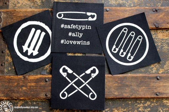 Safety Pin / AntiFA Canvas Patch - Safety Pin Movement Safe Person Ally Anti-Fascism