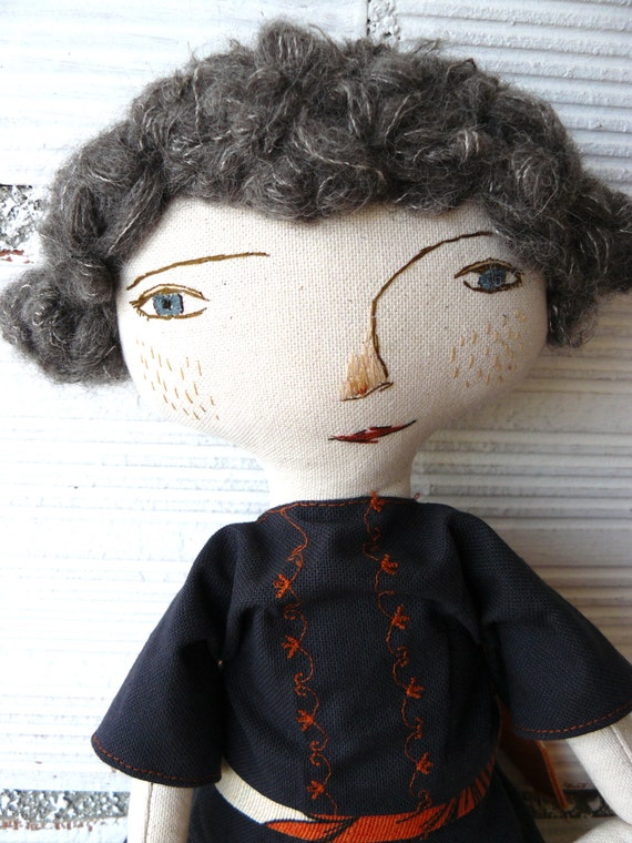Big art doll with alpaca and silk hair. Hand embroidered.  19,5 inches