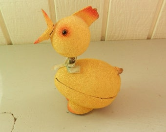 Vintage Chick Bobble Head ~ Easter ~ Paper Mache Candy Container ~ German Bobblehead (?)