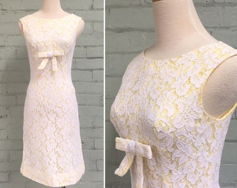 Vintage 1960s lace wiggle dress / 60s yellow white lace dress / extra small