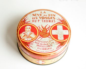 Vintage Retro FRENCH Red Tin of Pins Originally Pine Resin 1st Aid