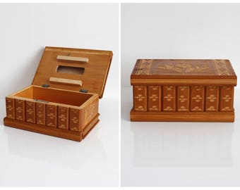 Large Wooden Hand Carved Jewellery / Jewelry Box / FREE UK SHIPPING